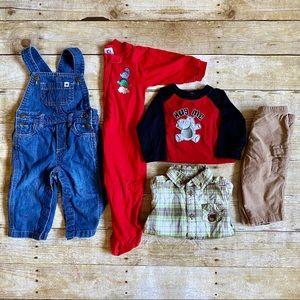 9 Month Baby Boy overalls & dress shirt bundle